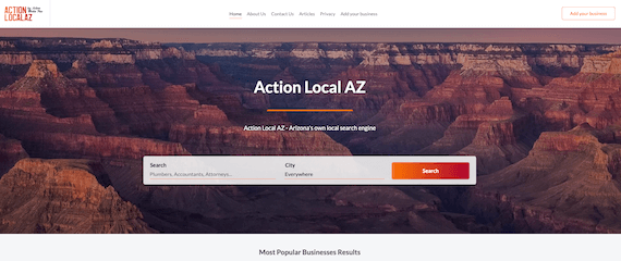 Action Local AZ home page