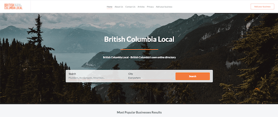 British Columbia Local home page
