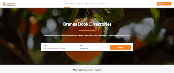 Orange Book Directories home page